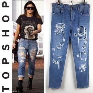 Topshop hayden high rise ripped boyfriend jeans 28